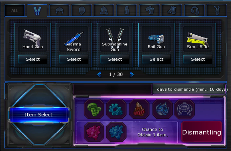 Days Crafting Menu Button